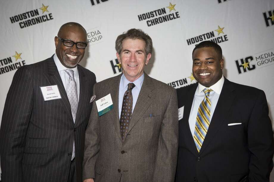 Left to right; Gerald Smith, Jeff Cohen, and Jackson Smith attend the Houston Auto Show's 30th Anniversary Preview Party Tuesday, Jan. 21, 2014, in Houston. ( Nick de la Torre