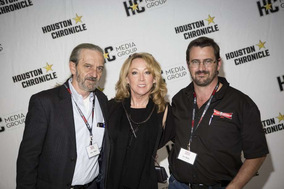 John Miller, left, Lynn Beckwith, center, and Jim Miller attend the Houston Auto Show's 30th Anniversary Preview Party Tuesday, Jan. 21, 2014, in Houston. ( Nick de la Torre