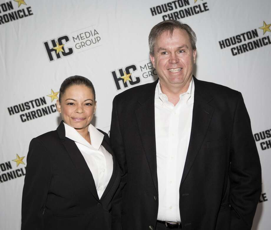 Mary Pugh, left, and Todd Crabtree attend the Houston Auto Show's 30th Anniversary Preview Party Tuesday, Jan. 21, 2014, in Houston. ( Nick de la Torre