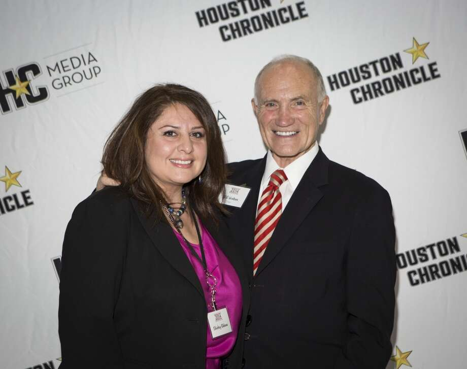 Shirley Aldana, left, and Bill Wolters attend the Houston Auto Show's 30th Anniversary Preview Party Tuesday, Jan. 21, 2014, in Houston. ( Nick de la Torre