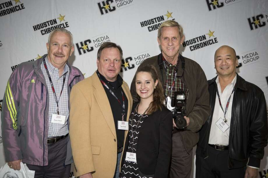 Left to right: James Hurst, Tom Fricke, Megan Smith, Dalton DeHart, and Greg Jev attend the Houston Auto Show's 30th Anniversary Preview Party Tuesday, Jan. 21, 2014, in Houston. ( Nick de la Torre