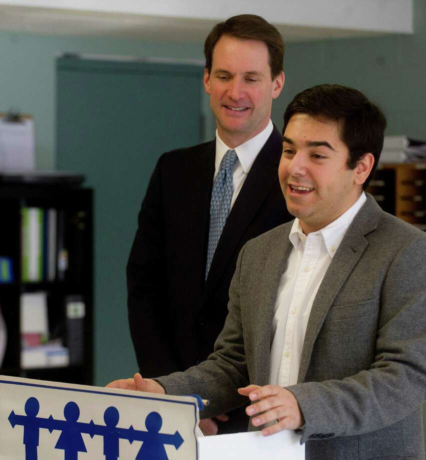 U.S. Rep. Jim Himes announces that he has invited Lucas Codognolla, lead coordinator of CT Students for a DREAM, to be his guest at the State of the Union address. The announcement was made on Wednesday, January 22, 2014, at Neighbor's Link in Stamford, Conn. Photo: Lindsay Perry / Stamford Advocate