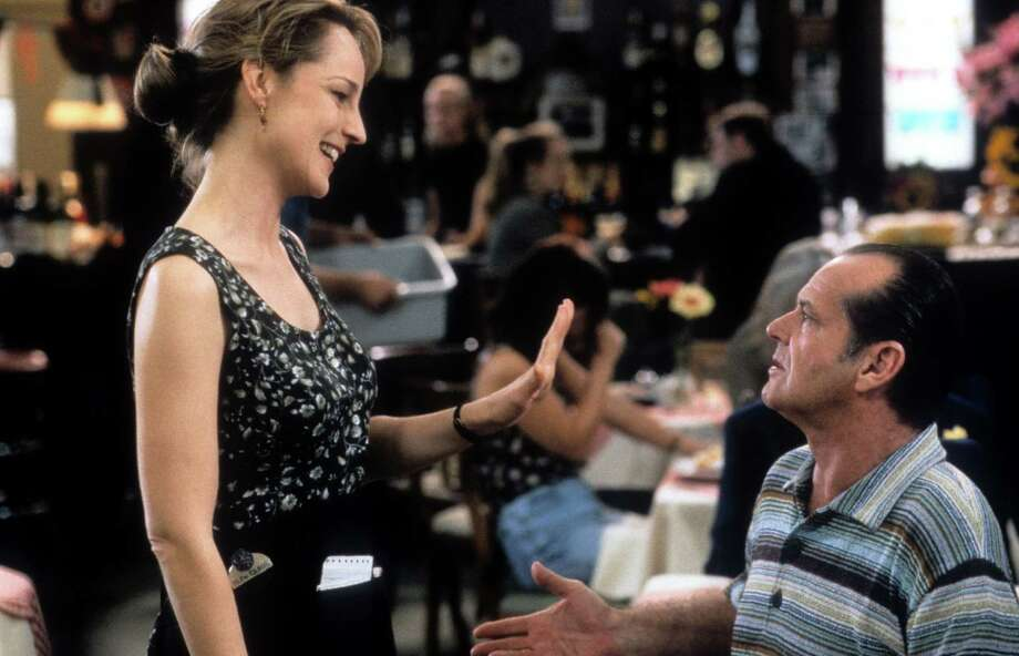 """You make me want to be a better man.""— Melvin Udall to Carol Connelly in ""As Good As It Gets.""PHOTO: Carol (Helen Hunt) and Melvin (Jack Nicholson) at a restaurant in a scene from the film ""As Good As It Gets,"" 1997. Photo: Columbia TriStar, TriStar Pictures/Getty Images / 2013 Getty Images"