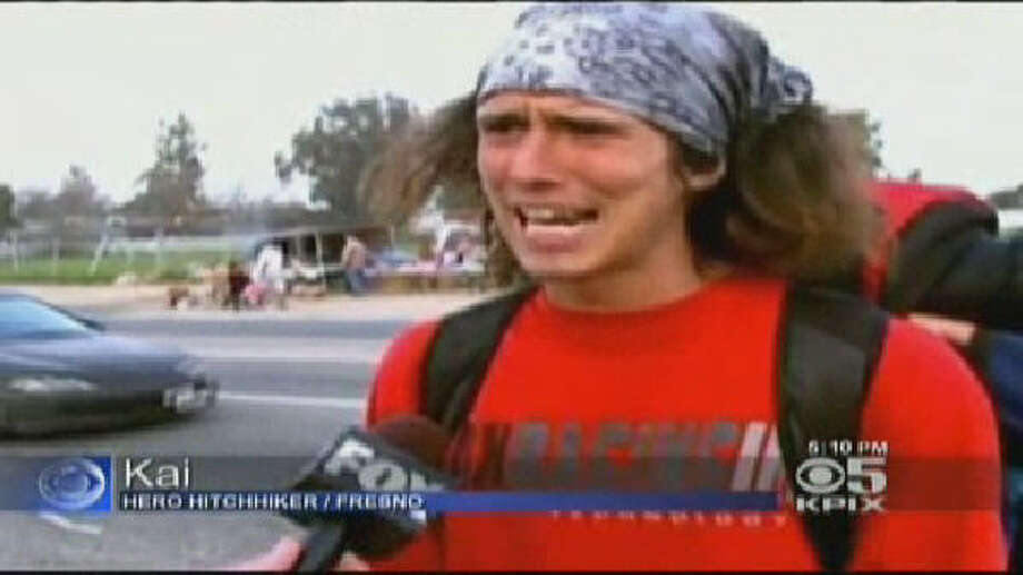 A homeless hitchhiker in Fresno, Calif. known only as Kai helped save two women from a seemingly crazy driver he was riding with. His expletive-filled interview quickly made the rounds on the Internet. Photo: WPIX-TV