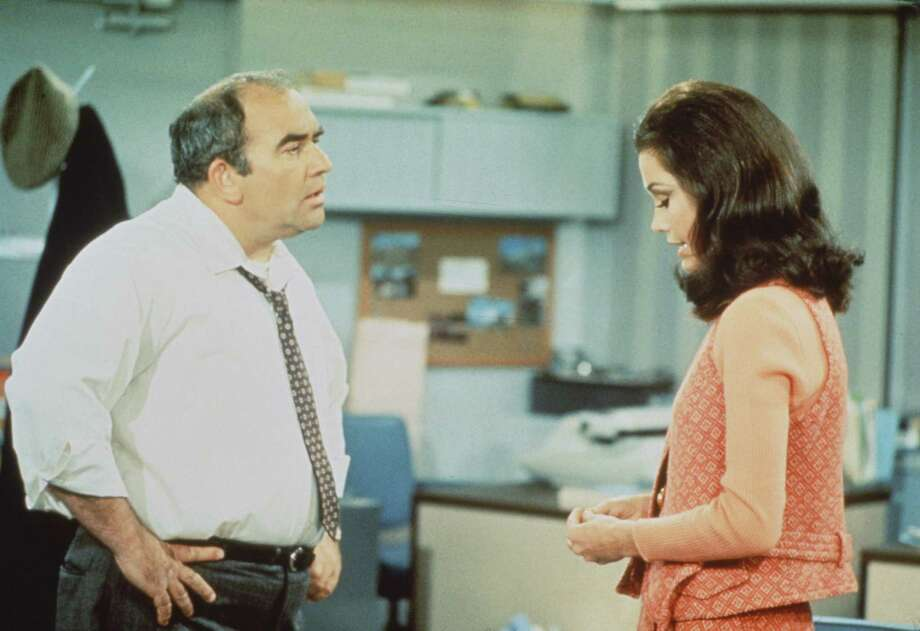 """You know what, you've got spunk!""— Lou Grant to Mary Richards on ""The Mary Tyler Moore Show.""PHOTO: Lou Grant (Edward Asner) and Mary Richards (Mary Tyler Moore) in a scene from ""The Mary Tyler Moore Show,"" 1970. Photo: CBS Photo Archive, Getty Images /  Copyright ©1970 CBS Broadcasting Inc. All Rights Reserved. Credit: CBS Photo Archive."