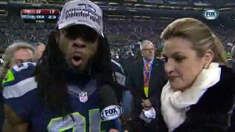 "Something magical happened when the Seattle Seahawks came out on top after their match with the San Francisco 49ers: This obnoxiously loud interview with Richard Sherman and Fox Sports' Erin Andrews. Sherman began screaming he was the ""best cornerback in the game"" and hurled an insult at 49ers receiver Michael Crabtree. Photo: Elaine Thompson, Associated Press"