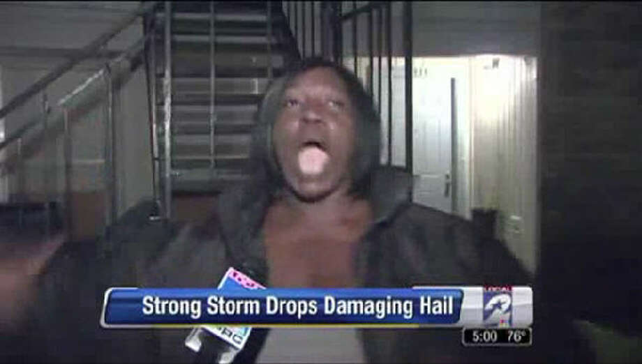 "In March 2013, Houston's KPRC-TV met  Michelle Clark who proceeded to tell them what happened after quarter-size hail fell on her apartment. She became a viral sensation after using the word ""Kabooya!"" to describe what happened. Photo: KPRC-TV"