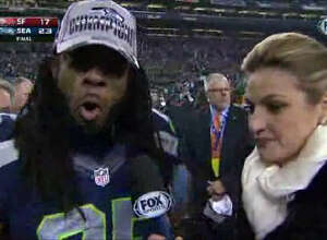 "Something magical happened when the Seattle Seahawks came out on top after their match with the San Francisco 49ers: This obnoxiously loud interview with  Richard Sherman  and Fox Sports' Erin Andrews. Sherman began screaming he was the ""best cornerback in the game"" and hurled an insult at 49ers receiver Michael Crabtree."