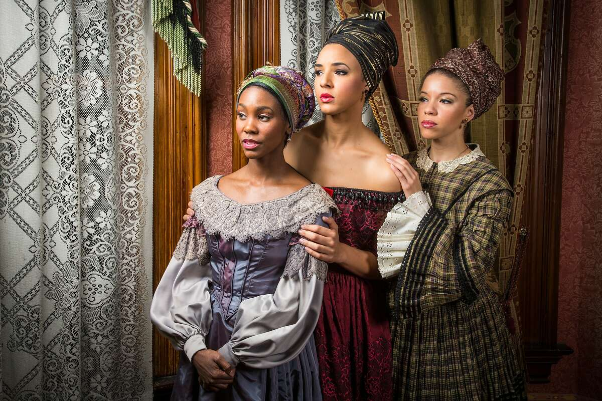 (l to r) At Berkeley Rep leading actors Joniece Abbott-Pratt (Odette), Tiffany Rachelle Stewart (Agnès), and Flor de Liz Perez (Maude Lynn) portray three sisters in the world premiere of Marcus Gardley's The House that will not Stand, a comedic drama about free women of color in 1836 New Orleans. Photo by Cheshire Isaacs