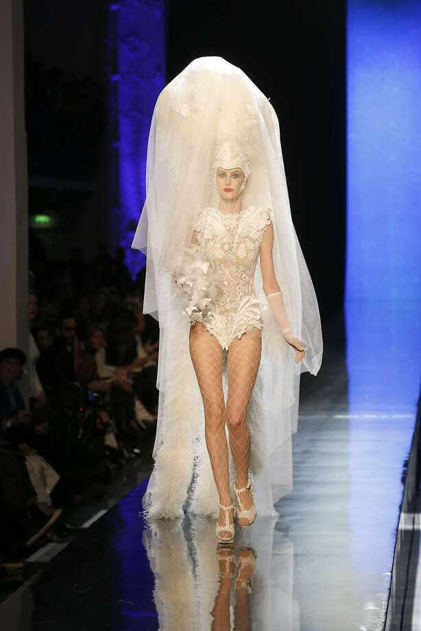 A model presents the wedding gown as part of the Jean-Paul Gaultier Spring-Summer 2014 Haute Couture fashion collection, presented Wednesday, Jan. 22, 2014 in Paris. Photo: Jacques Brinon, Associated Press
