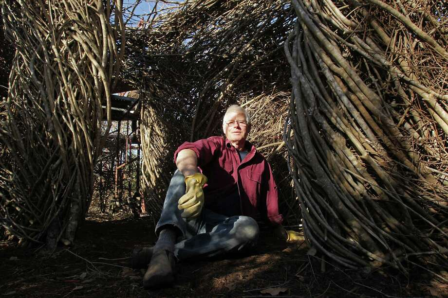 Artist Patrick Dougherty's art installation of bent twigs is a large-scale commission for Hermann Park's Art in the Park project. Photo: James Nielsen, Staff / © 2013  Houston Chronicle