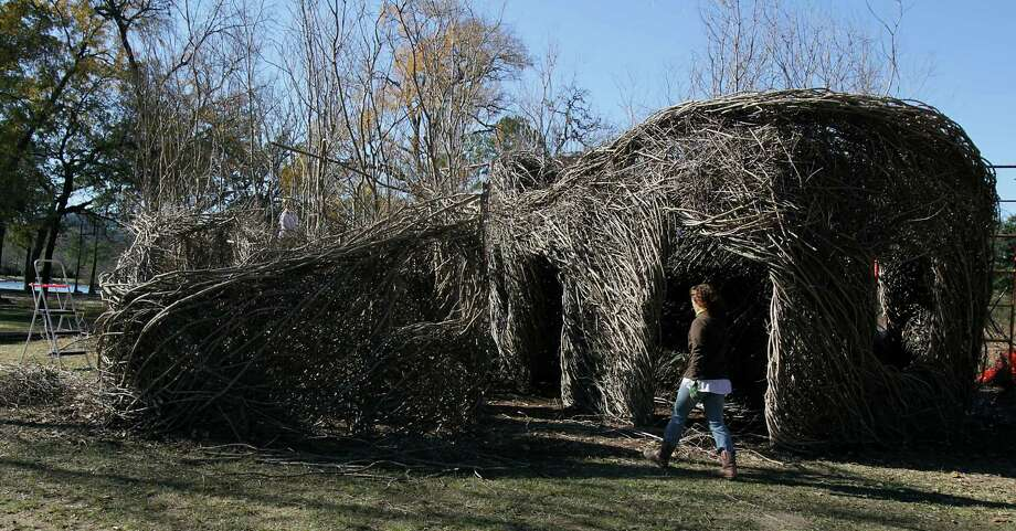 A look at Patrick Dougherty's 'Boogie Woogie' maze, which was made from recycled bent twigs, at Hermann Park. Photo: James Nielsen, Staff / © 2013  Houston Chronicle