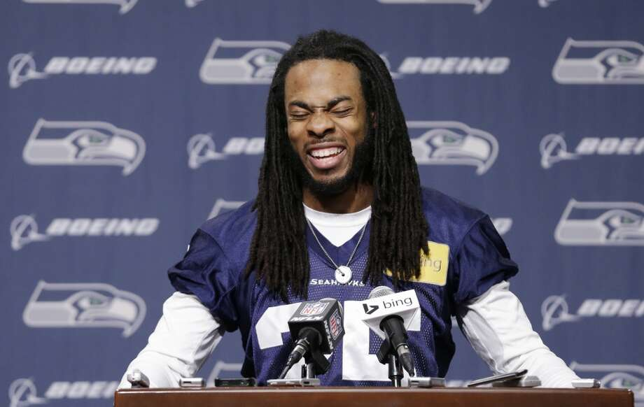 Seattle Seahawks' Richard Sherman speaks at an NFL football news conference Wednesday, Jan. 22, 2014, in Renton, Wash. The Seahawks play the Denver Broncos in the Super Bowl on Feb. 2. (AP Photo/Elaine Thompson) Photo: Associated Press