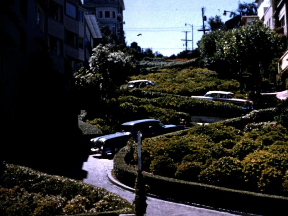 Lombard Street in a home movie from the mid-20th century. Courtesy Premiere Pictures International..