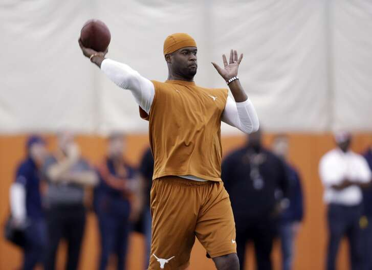 Vince Young during a workout at Texas in 2013.