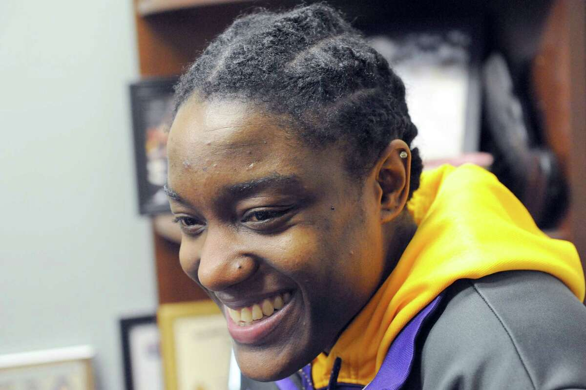 Tammy Phillip a senior guard for UAlbany women's basketball on Tuesday Jan. 21, 2014 in Albany, N.Y. (Michael P. Farrell/Times Union)