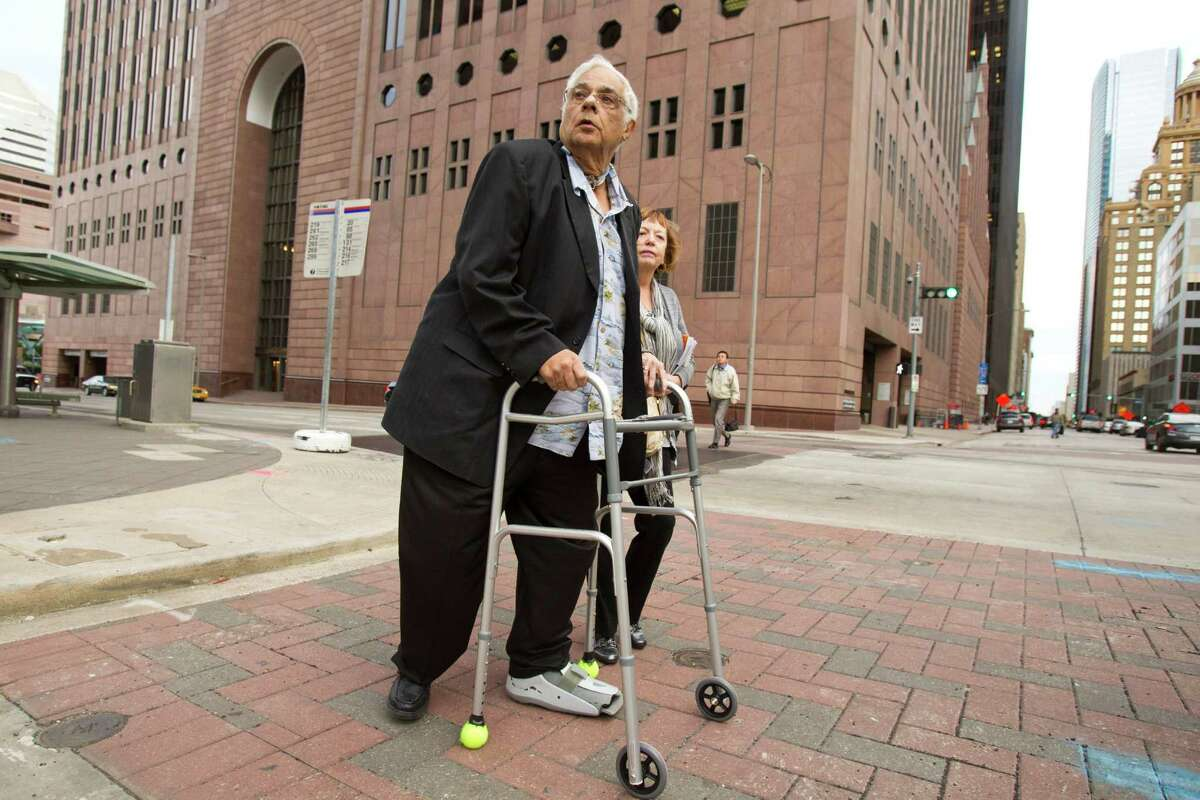 Jack Abercia waits for a ride after leaving the Bob Casey Federal Courthouse on Jan. 12, 2012.