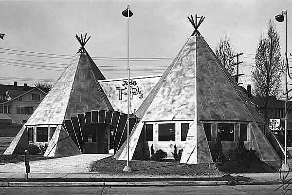 """Clark's Twin T-P's restaurant  is pictured in the previous photo. Opened in 1937 on Highway 99, the Twin T-P's (later spelled """"Twin Teepees"""") was a classic Americana roadside restaurant. It closed in 2000.   1937 photo: copyright  MOHAI , Seattle Post-Intelligencer collection,  1986.5.11405 ."""
