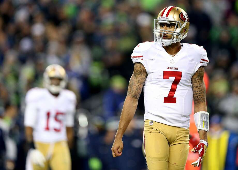 Colin Kaepernick was left looking for answers against Seattle. Photo: Christian Petersen, Getty Images
