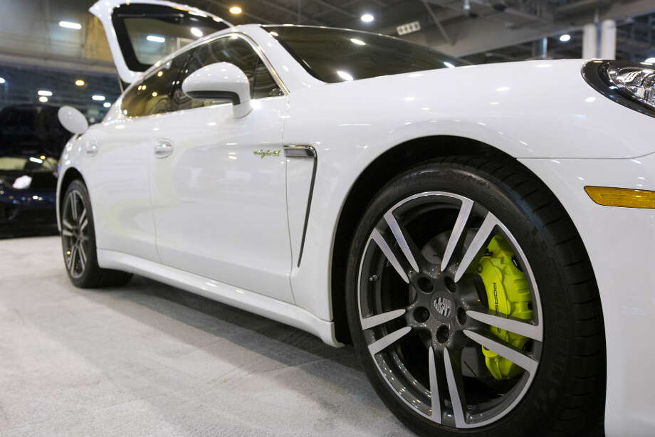 The fuel efficient Porsche Panamera S E-Hybrid can run on gas, electric power, or on both functioning together. The hybrid was on display at the Houston Auto Show Wednesday. Photo: Marie D. De Jesus, Houston Chronicle
