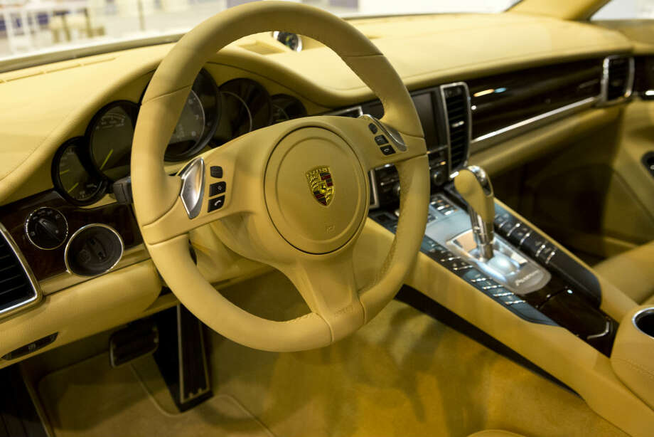 The inside view of the fuel efficient Porsche Panamera S E-Hybrid on display at the Houston Auto Show Wednesday. Photo: Marie D. De Jesus, Houston Chronicle