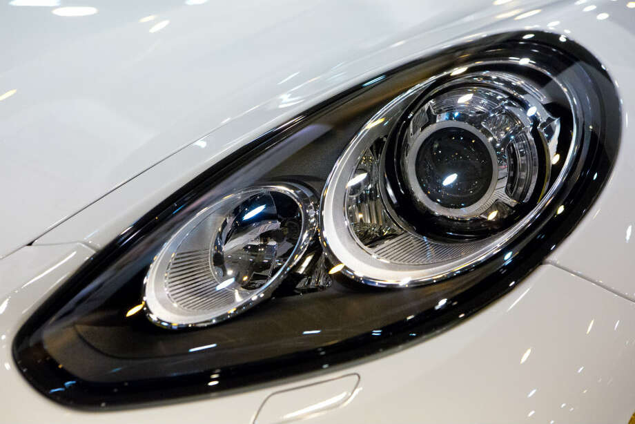 The Porsche Panamera S E-Hybrid headlight, on display at the Houston Auto Show. Photo: Marie D. De Jesus, Houston Chronicle