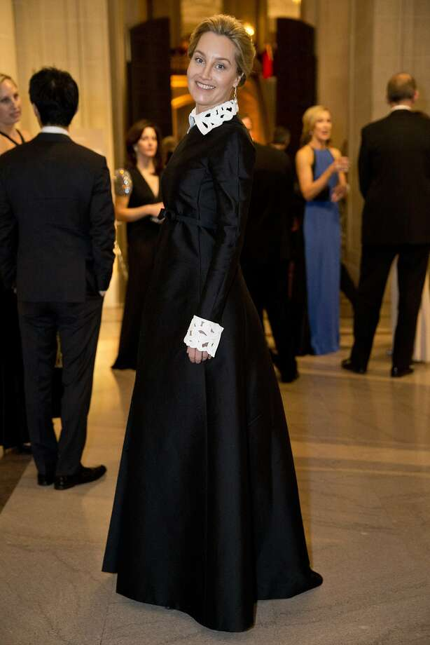 Erin Glenn is sophisticated in a black-and-white gown by Valentino. Photo: Laura Morton, Special To The Chronicle