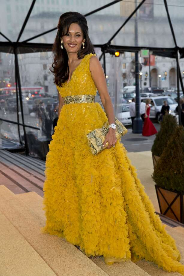 Komal Shah wears a gown by Dennis Basso. Photo: Laura Morton, Special To The Chronicle