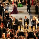 "The large staircase in the rotunda was crowded with guests as the event began. The San Francisco ballet season opening gala with a theme of ""Phenomenal"" at City Hall Wednesday January 22, 2014 featured a dinner in the rotunda, and cocktails in the South Light Court."