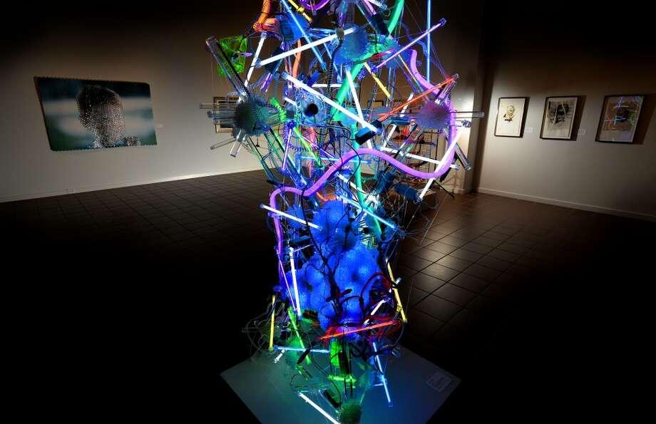 """Andela Andea, """"Hyperion,"""" 2012. Cold Cathode fluorescent lights, caomputer power source, LED computer fans, flex neon, plexiglass, various plastics. Photo: Guiseppe Barranco"""