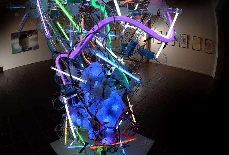 "Andela Andea, ""Hyperion,"" 2012. Cold Cathode fluorescent lights, caomputer power source, LED computer fans, flex neon, plexiglass, various plastics. Photo: Guiseppe Barranco"