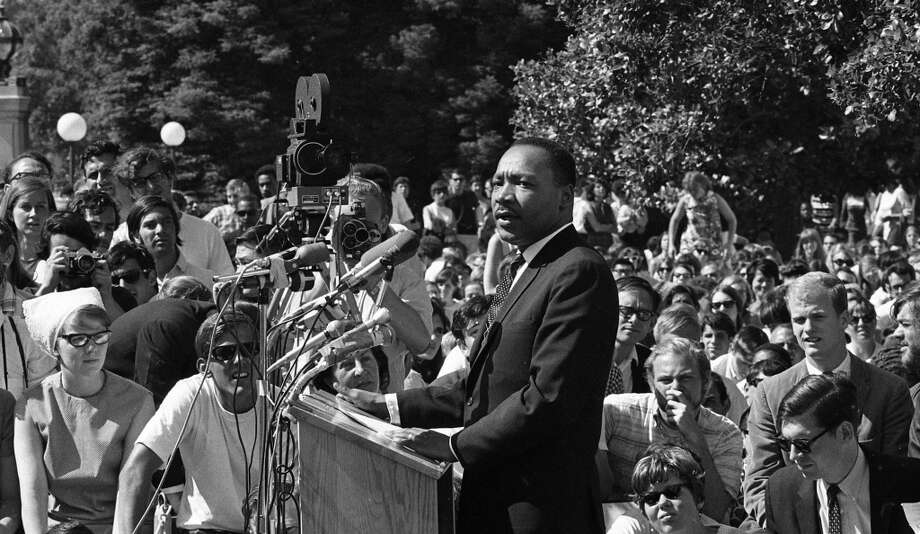 May 17, 1967: Martin Luther King Jr. speaks at U.C. Berkeley in Upper Sproul Plaza. His anti-war speech drew 7,000 by the Chronicle's estimate, although others guessed more than 10,000. Photo: Art Frisch, The Chronicle
