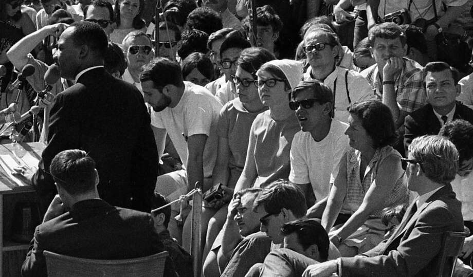 Moving in closer now to see some of the faces. The guy on the right with the white T-shirt and sunglasses has that same awestruck look in several of these photos. Photo: Art Frisch, The Chronicle