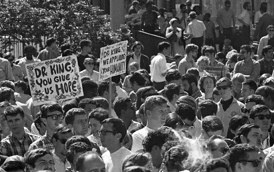 Protest and rally sign-makers were much more artistic in 1967. Rallies these days are all about spray paint on butcher paper. I really hope at least one of the audience members kept a sign. Photo: Art Frisch, The Chronicle