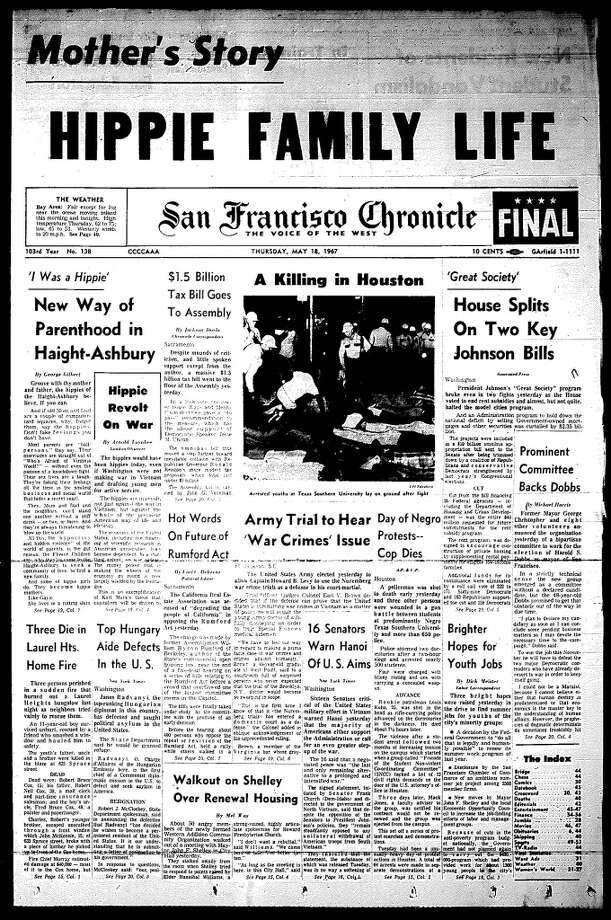 "The Chronicle front page from May 18, 1967. Note the continuing coverage from the paper's ""Hippie Madness"" series, but no mention of King's appearance. The article was buried on Page 8. Photo: Chronicle Archives"