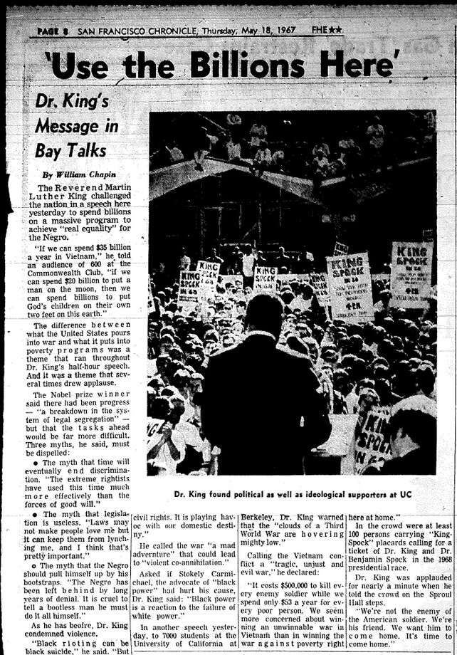 Here's the article, which focused on King's appearance in front of 600 at the Commonwealth Club and mentioned the Berkeley speech only at the end. An easier-to-read version has been included in the post. Photo: Chronicle Archives