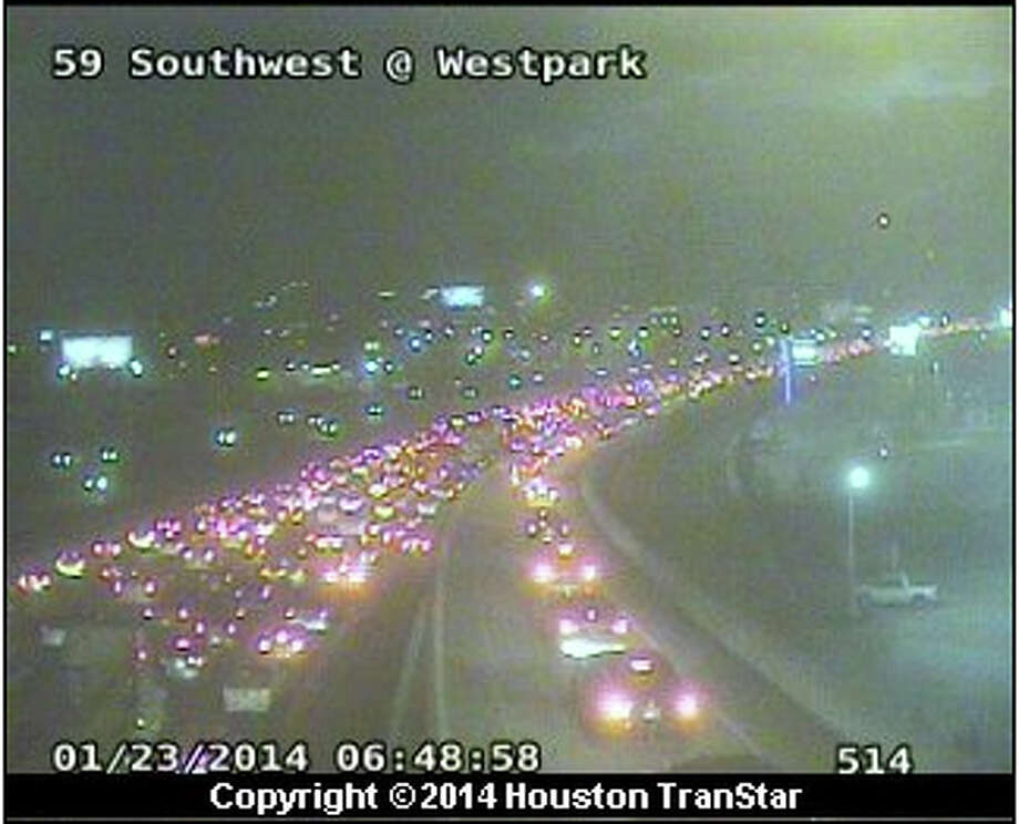 Traffic backs up for miles after Thursday morning's two crashes on U.S. 59 in southwest Houston. Photo: TranStar