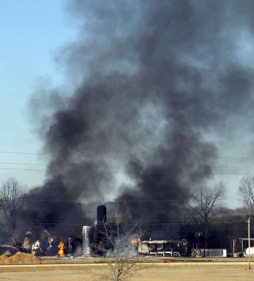 A fire at a biodiesel facility near New Albany, Miss., burns Wednesday, Jan. 22, 2014.  The fire was so hot that firefighters could not get close enough to fight it, the Mississippi Highway Patrol said. Photo: Angie Barmer, AP