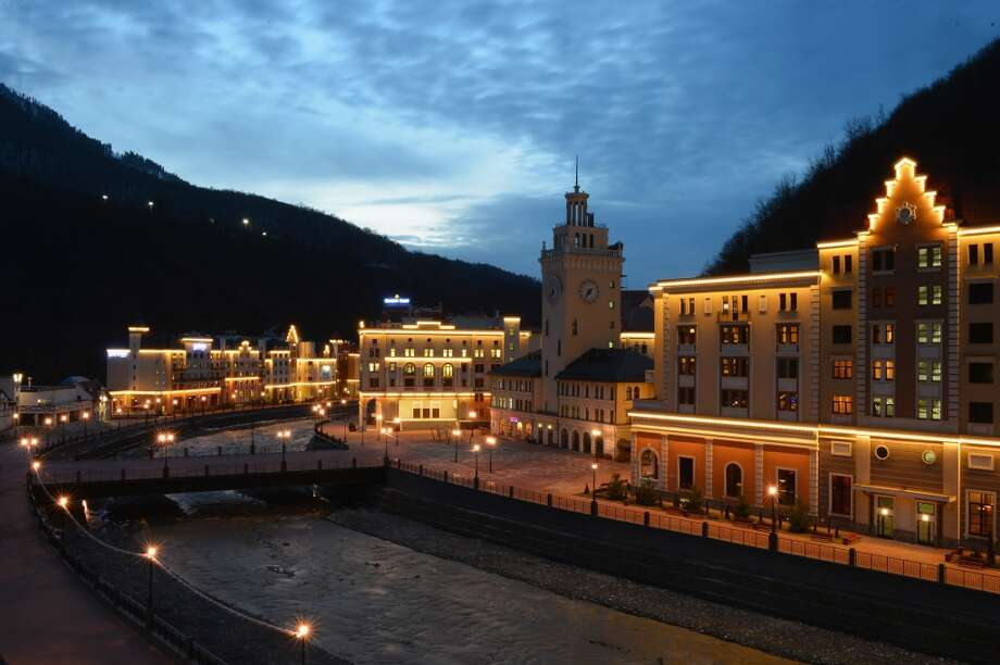A general view at dusk in Rosa Khutor on March 8, 2013 in Sochi, Russia. Photo: Shaun Botterill, Getty Images