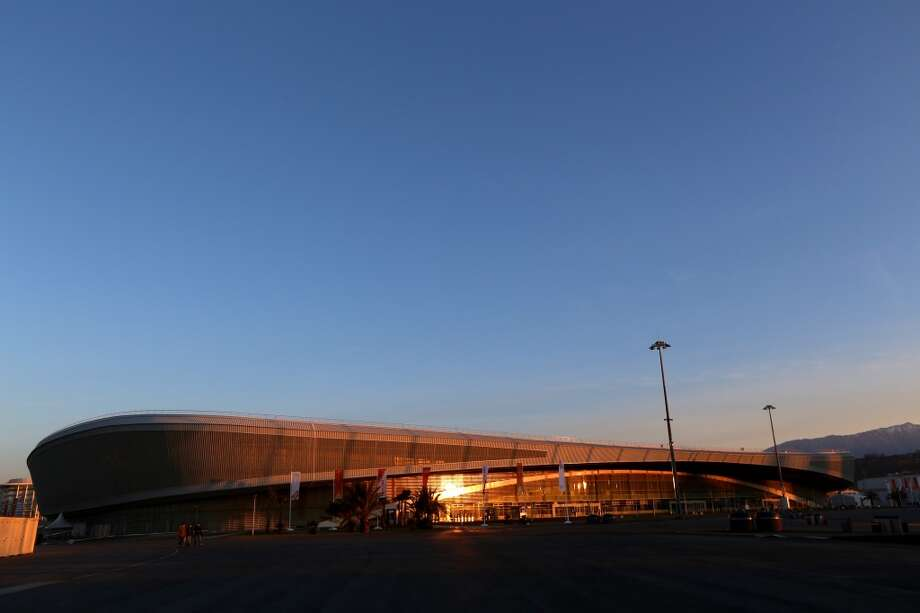 The rising sun reflects off of Adler Arena Skating Center on January 10, 2014 in Alder, Russia. The region will host the Sochi 2014 Winter Olympics which start on February 6th, 2014. Photo: Michael Heiman, Getty Images