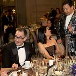 Yurie Pascarella, Colin Bailey, Akiko Yamazaki and Timothy Wu (left to right) chat during dinner while attending the San Francisco Ballet's Opening Night Gala at City Hall in San Francisco, Calif., on Wednesday, January 22, 2014.
