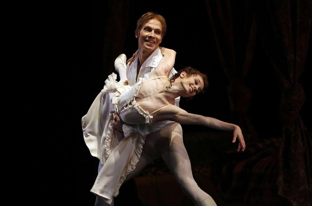 Maria Kochetkova and Johan Kobborg perform Bedroom pas de deux from Act I of Manon at dress rehearsal for the San Francisco Ballet's Opening Night Gala in San Francisco, Calif., on Wednesday, January 22, 2014.