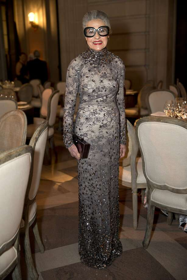 Joy Bianchi's intricately beaded Tom Ford sheath is romantic in gray. Photo: Laura Morton, Special To The Chronicle