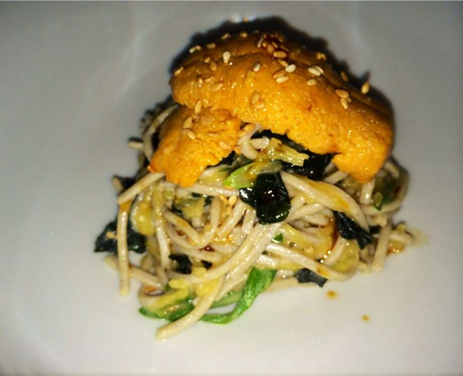 Mendocino sea urchin with cold soba noodles, seaweed and ginger. ($15).