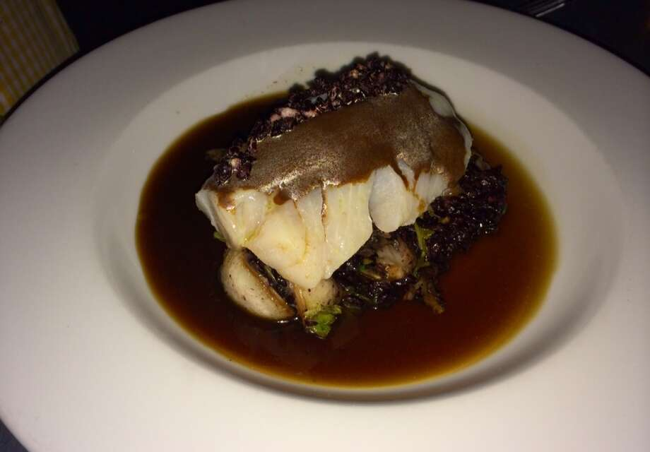 Olive oil poached cod with black rice maitakemushrooms and smoked tea broth ($25)