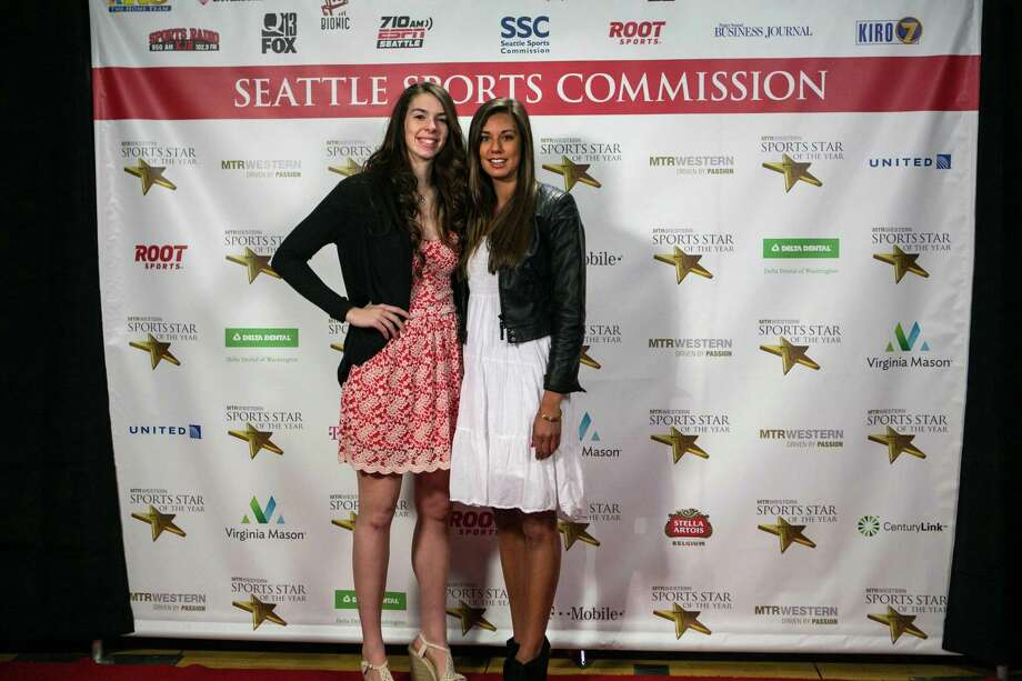 UW volleyball player and Female Sports Star of the Year honoree Krista Vansant, left, poses for a photo with teammate Kylin Munoz on the red carpet during the 79th annual Sports Star of the Year awards. Photo: JOSHUA TRUJILLO, SEATTLEPI.COM / SEATTLEPI.COM