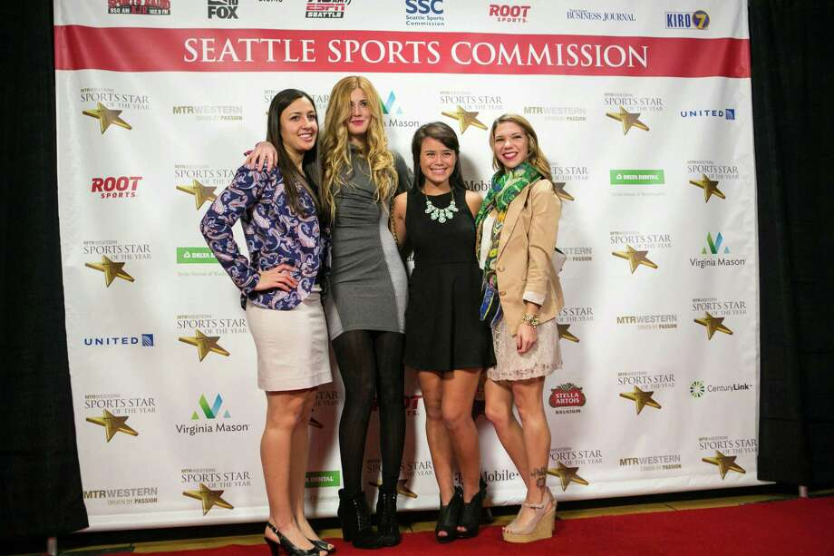 Seattle University women's soccer players, from left, Alyssa Campagna, Ava Ames, Mary Hill and Kat Prati pose on the red carpet during the 79th annual Sports Star of the Year awards. Photo: JOSHUA TRUJILLO, SEATTLEPI.COM / SEATTLEPI.COM