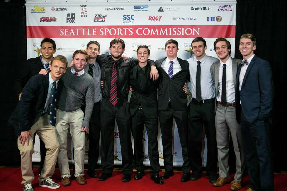 Members of the Seattle University soccer team pose on the red carpet. Photo: JOSHUA TRUJILLO, SEATTLEPI.COM / SEATTLEPI.COM
