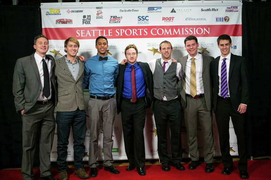 Members of the University of Washington soccer team pose on the red carpet. Photo: JOSHUA TRUJILLO, SEATTLEPI.COM / SEATTLEPI.COM