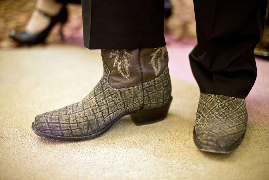 Likewise, David Morris wore rare elephant skin boots by Tony Lama.  Photo: Laura Morton, Special To The Chronicle